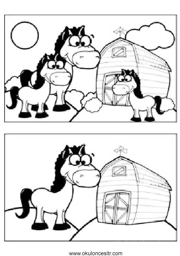 At Aradaki Farkı Bul Sayfası