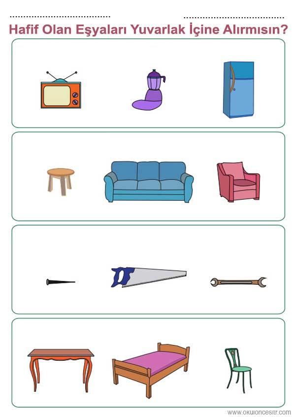Ağır Hafif Renkli Çalışma Sayfası