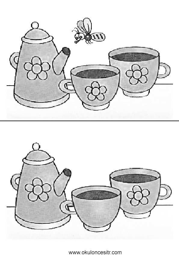 Çaydanlık Aradaki Farkı Bul Sayfası