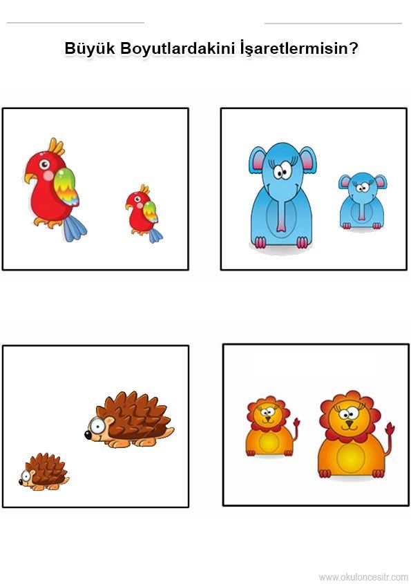 Buyuk Kucuk Renkli Calisma Kagidi Okuloncesitr Preschool