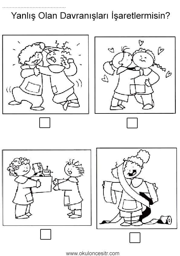 Dogru Yanlis Calisma Sayfasi Okuloncesitr Preschool