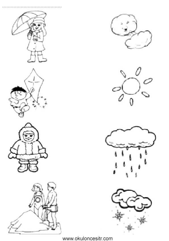 Mevsimleri Eslestirme Calisma Kagidi Okuloncesitr Preschool