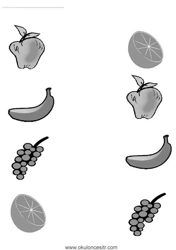 Meyveleri Eşleştirme Çalışma Kağıdı