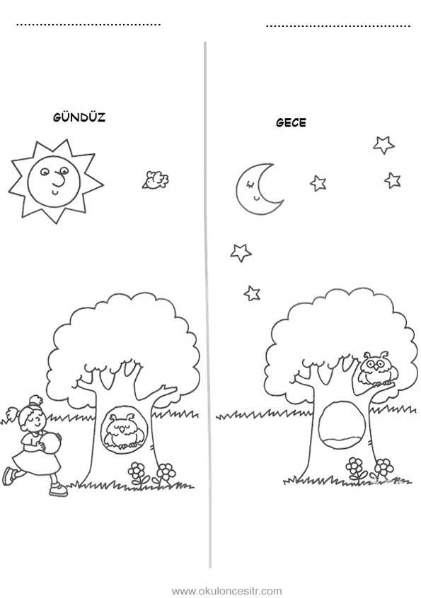 Gece Gündüz çalışma Sayfası Okulöncesitr L Preschool