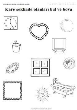 Kare Kavrami Calisma Sayfasi Okuloncesitr Preschool