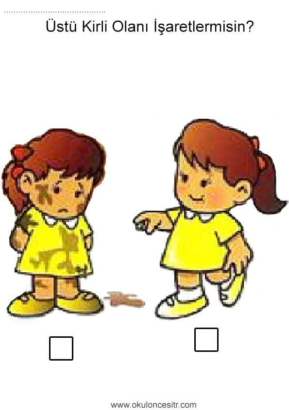 Kirli Temiz çalışma Sayfası Okulöncesitr L Preschool