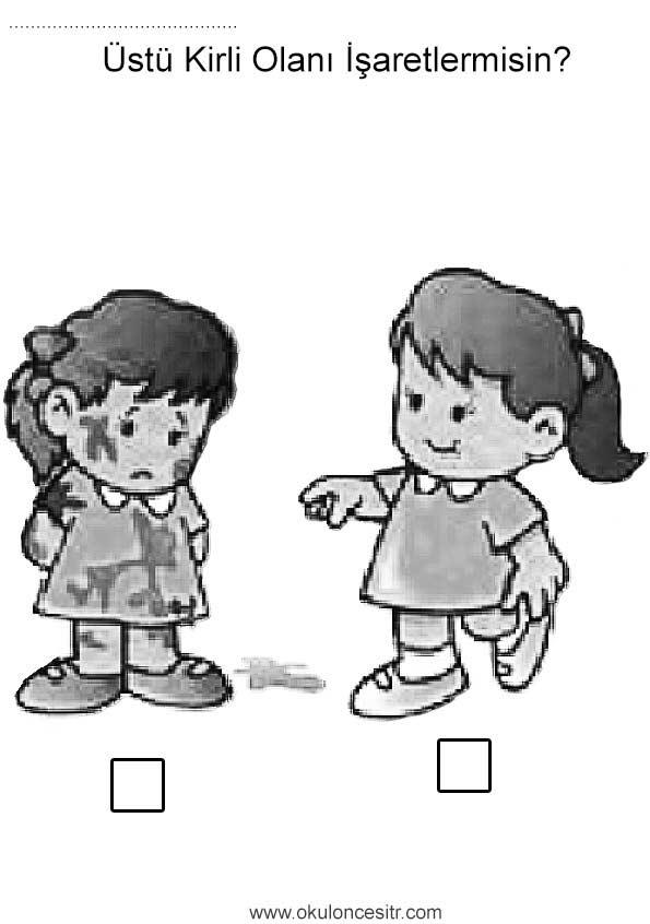 Kirli Temiz Calisma Sayfasi Okuloncesitr Preschool