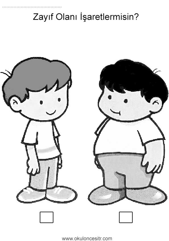 şişman Zayıf çalışma Sayfası Okulöncesitr L Preschool