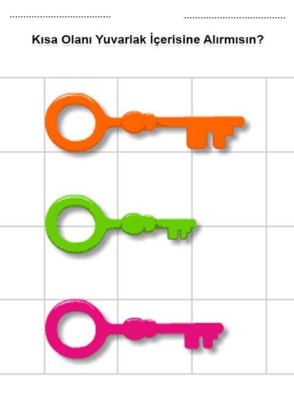 Uzun Kisa Renkli Calisma Kagidi Okuloncesitr Preschool