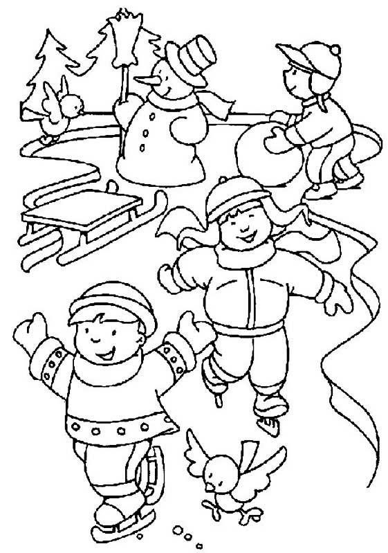Kış Mevsimi Boyama Sayfası