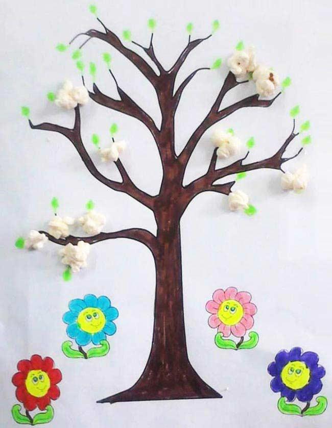 Patlamış Mısırdan Ağaç Yapımı Okulöncesitr L Preschool