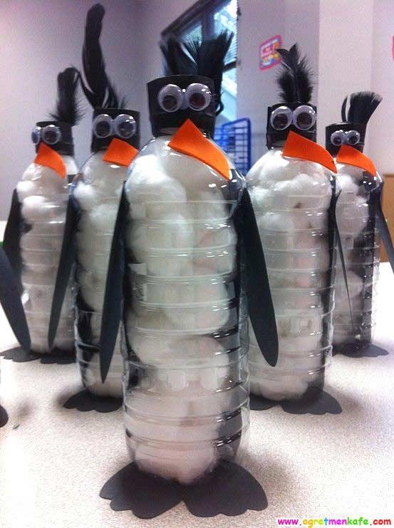 Su şişesinden penguen yapımı