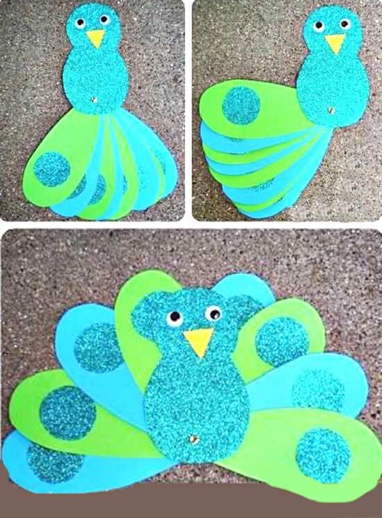 Renkli Kağıtlardan Tavuskuşu Yapımı