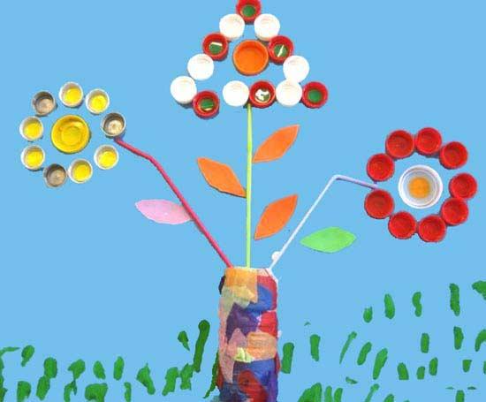 Kapaklardan Çiçek Yapımı