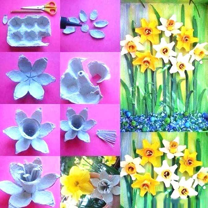 Yumurta Kolisinden Çiçek Yapımı