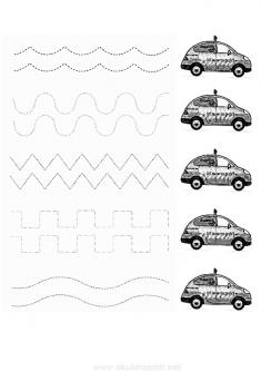 Arabalar Çizgi Çalışma Sayfası