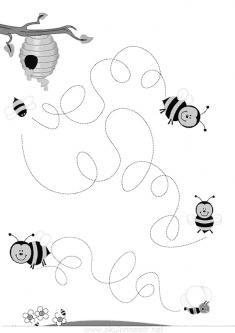 Arılar Çizgi Çalışma Sayfası