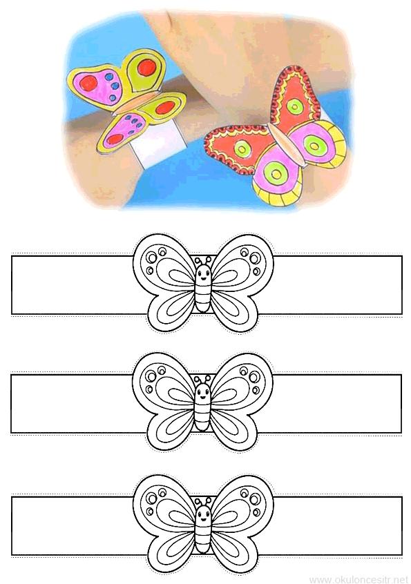 Kelebek Bileklik Kalibi Okuloncesitr Preschool