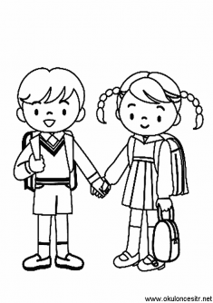 Okula Giden Kız Erkek Boyama Sayfası