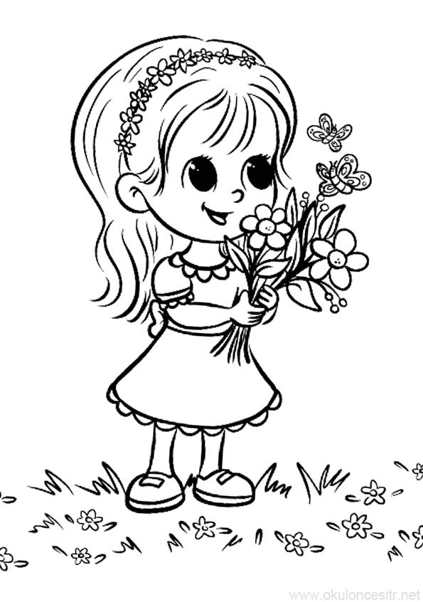 Çiçekli Kız Boyama Sayfası