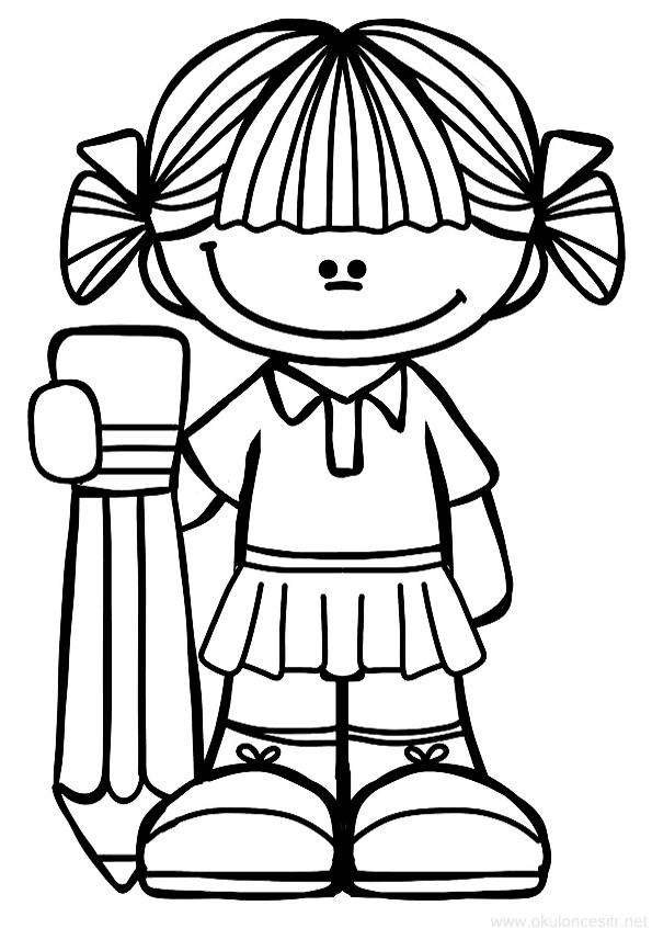 Kalem Tutan Kız Boyama Sayfası