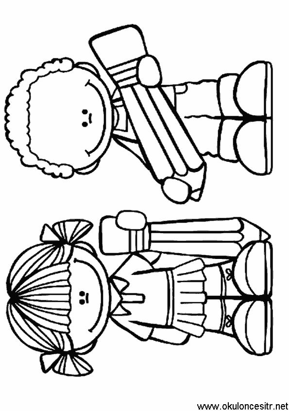 Kalem Tutan Kiz Erkek Boyama Sayfasi Okuloncesitr Preschool