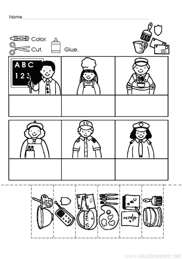 Meslekler Eşleştirme Puzzle Çalışmaları