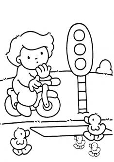 Trafik Lambasi Boyama Sayfasi Okuloncesitr Preschool