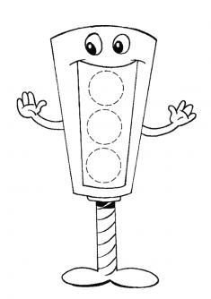 Trafik Lambası Boyama Sayfası