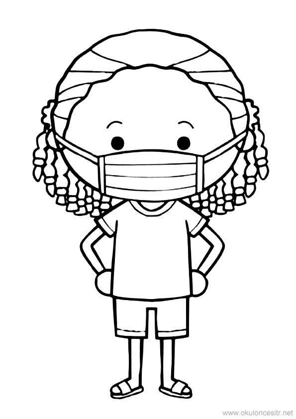 Maskeli Kız Boyama Sayfası