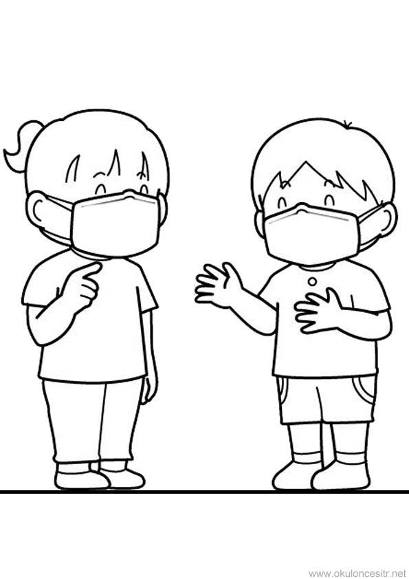 Maske Kullanımı Boyama Sayfası