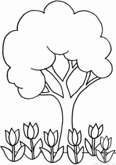 Ağaç ve Çiçek Boyama Sayfası