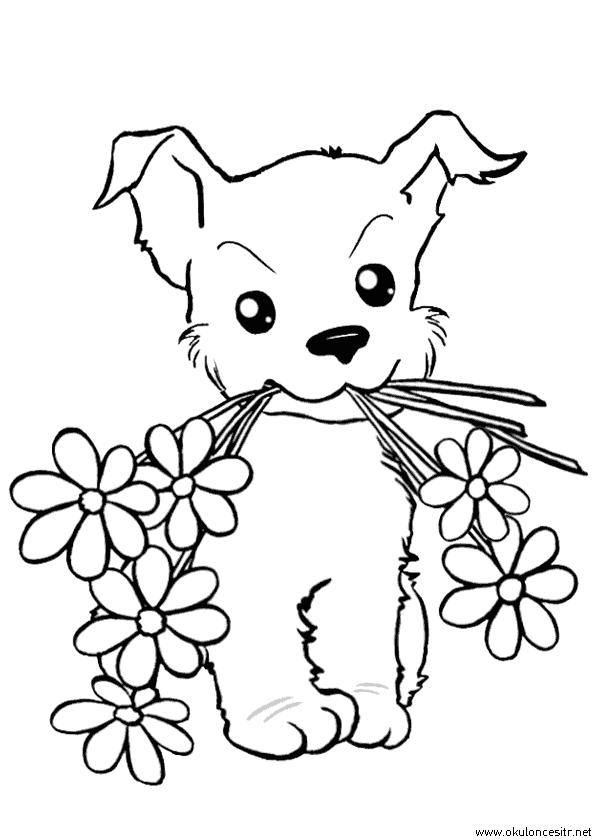 Köpekli Çiçek Boyama Sayfası