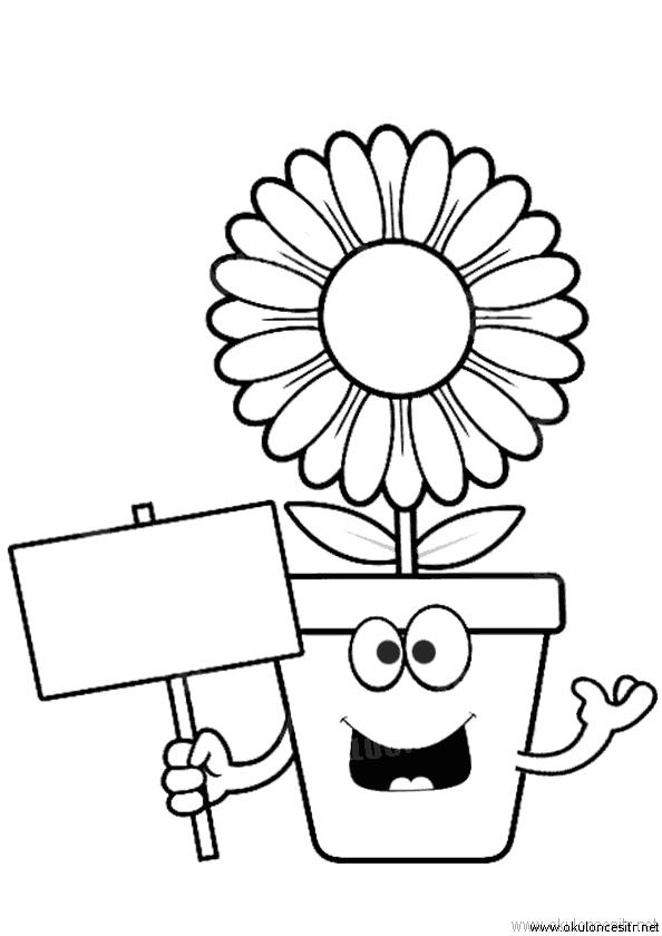 Pankartlı Çiçek Boyama Sayfası