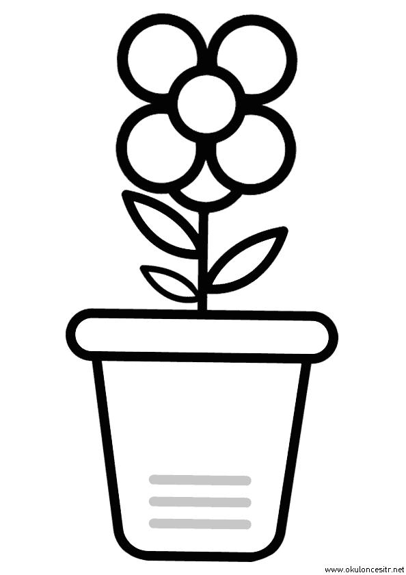 Saksıda Çiçek Boyama Sayfası