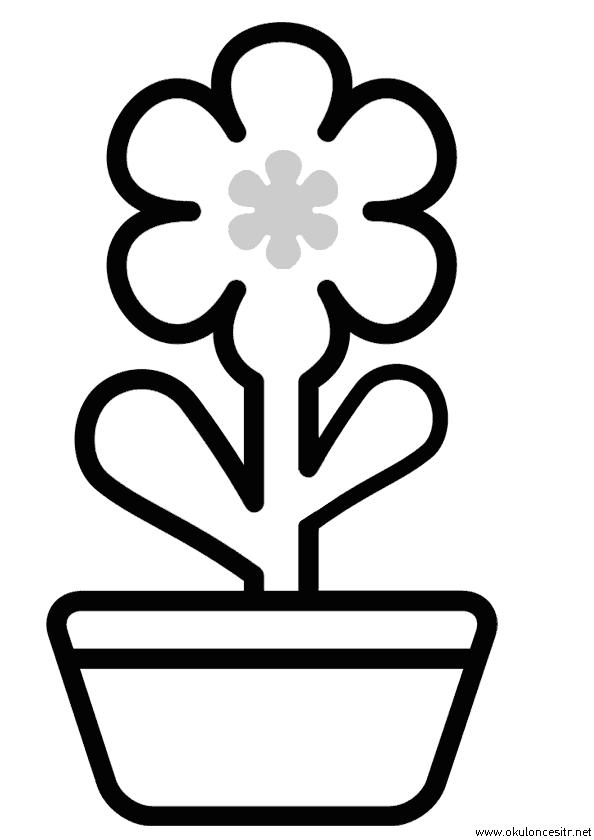 Saksı Çiçek Boyama Sayfası