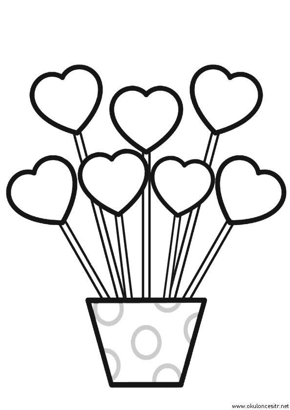 Kalp Çiçek Boyama Sayfası