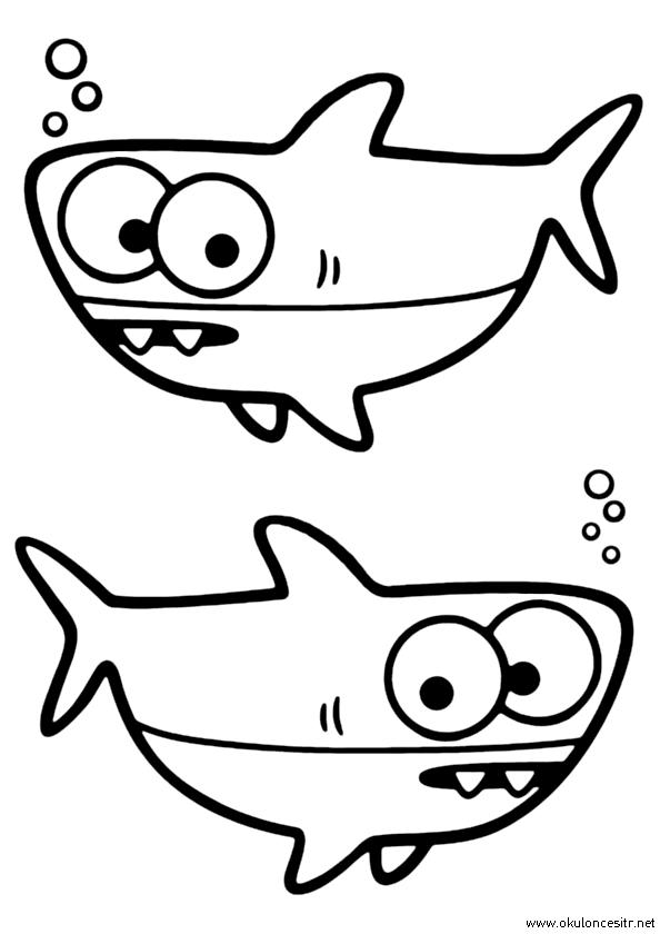 Köpek Balığı Boyama Sayfası